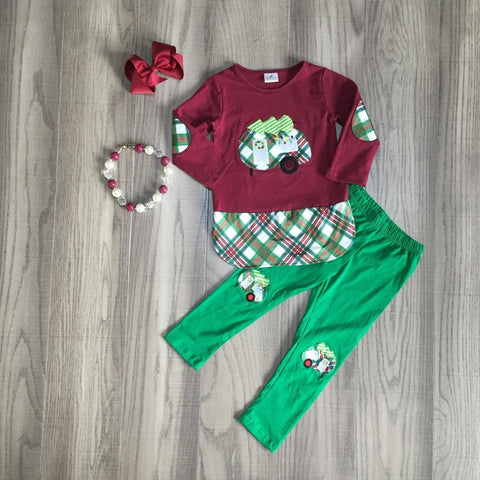 Burgundy Plaid Christmas Glamper Camper Patches Top Pants Necklace And Hair Bow