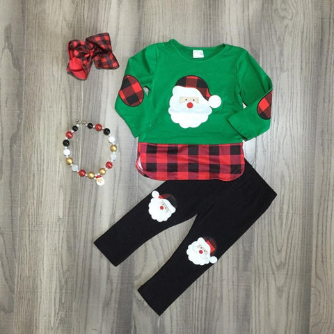 Green Santa Red Buffalo Plaid Top Pants Hair Bow And Necklace Set