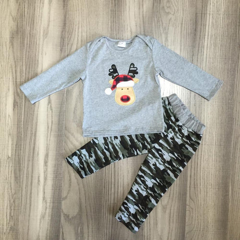 Reindeer Red Buffalo Plaid Camouflage Camo Gray Top And Pants Boys