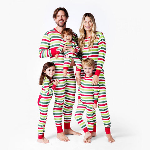 Matching Family Merry Christmas Red Green Stripe Holiday Pajamas