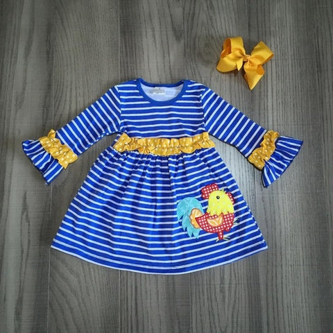 Blue Stripe Mustard Ruffle Rooster Dress And Hair Bow