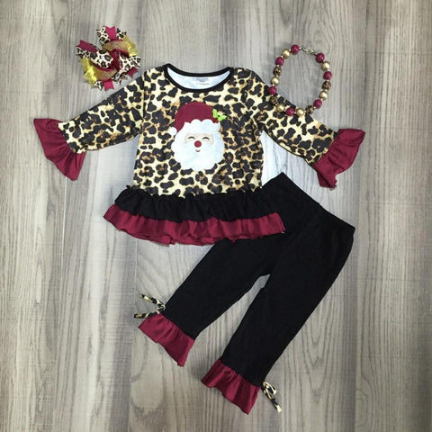 Leopard Burgundy Santa Black Ruffle Top Pants Necklace And Hair Bow Set