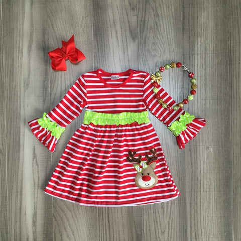 Red Stripe Green Ruffle Reindeer Dress Necklace And Hair Bow Set