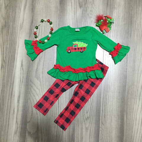 Vintage Truck Red Buffalo Plaid Green Ruffle Top Pants Necklace And Hair Bow Set