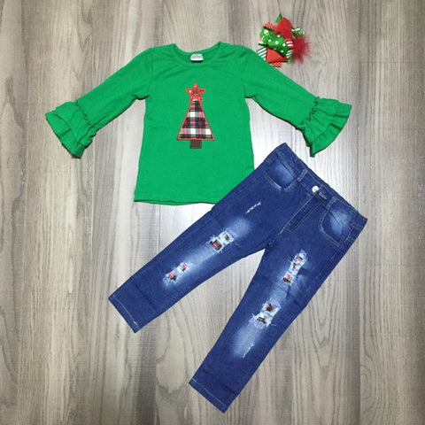Green Plaid Christmas Tree Ruffle Top Jeans And Hair Bow