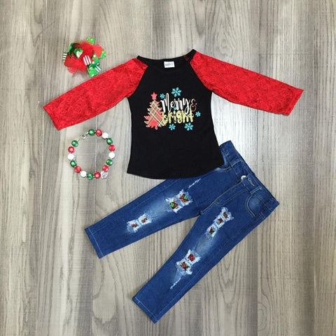 Merry And Bright Plaid Christmas Tree Red Lace Top Jeans Necklace And Hair Bow Set