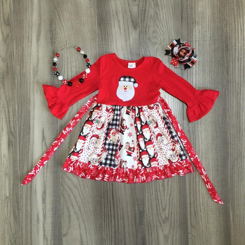 Santa Red Ruffle Flutter Patchwork Gingham Dress Necklace And Hair Bow Set