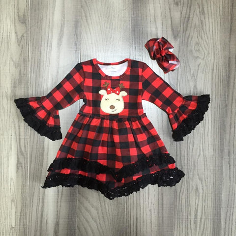 Red Buffalo Plaid Reindeer Black Lace Ruffle Flutter Dress And Hair Bow Set