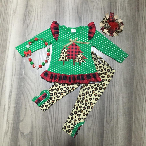 Leopard Green Polka Red Buffalo Plaid Christmas Tree Top Pants Necklace And Hair Bow Set