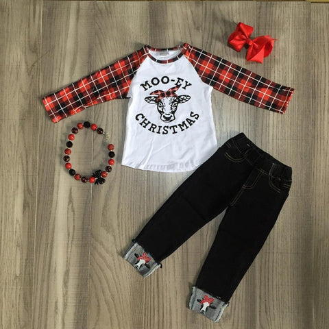 Mooey Christmas Cow Red Plaid Raglan Top Jeans Bow And Necklace Set