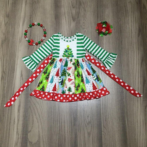 Christmas Tree Red Green Stripe Ruffle Flutter Patchwork Polka Dress Necklace And Hair Bow Set