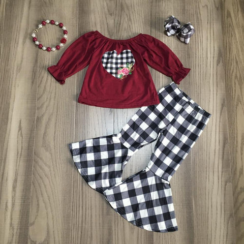 Floral Heart Burgundy Black Buffalo Plaid Top Flutter Pants Bow And Necklace Set