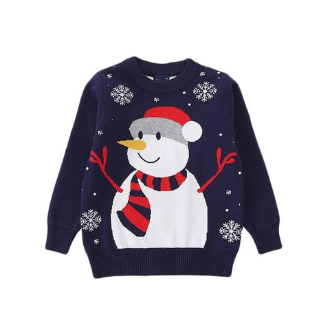 Holiday Time Navy Snowflake Snowman Party Sweater Boys