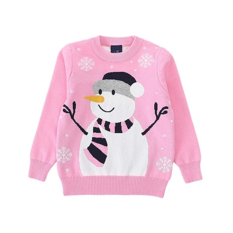 Holiday Time Pink Snowflake Snowman Party Sweater