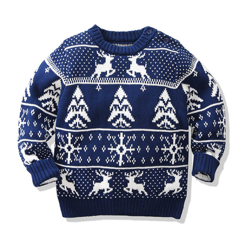 Holiday Time Aztec Tree Navy Reindeer Party Sweater Boys