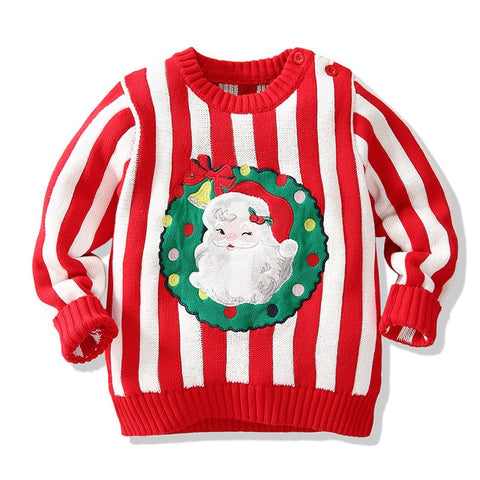 Holiday Time Red Stripe Santa Party Sweater