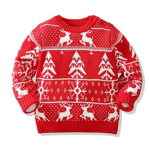Holiday Time Aztec Tree Reindeer Party Sweater