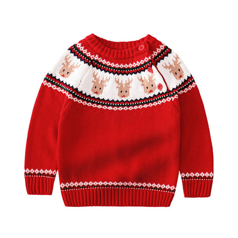 Holiday Time Red Reindeer Party Sweater