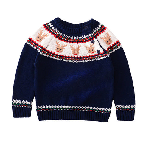 Holiday Time Navy Reindeer Party Sweater Boys