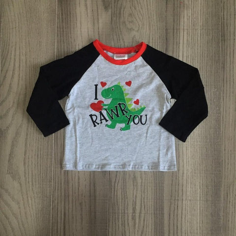 Gray Dinosaur I RAWR You Hearts Dino Raglan Shirt Boys