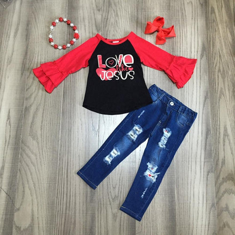 Love Like Jesus Hearts Red Raglan Ruffle Top Jeans  Necklace And Hair Bow