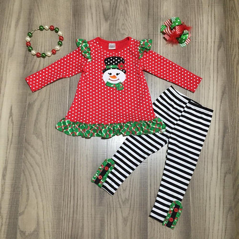 Stripe Snowman Red Polka Ruffle Button Stripe Pants Bow Necklace Set