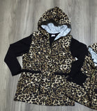 Black Hoodie Leopard Button Vest Shirt Set Mommy And Me