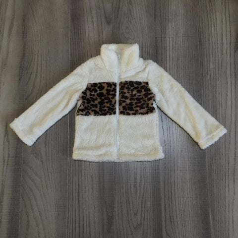 Leopard Cream Sherpa Plush Zip Sweater