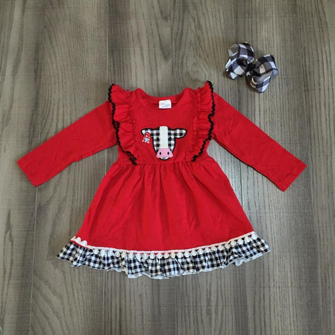 Black Plaid Gingham Red Ruffle Cow Dress And Hair Bow