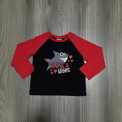 Red Love Bites Shark Hearts Raglan Shirt Boys