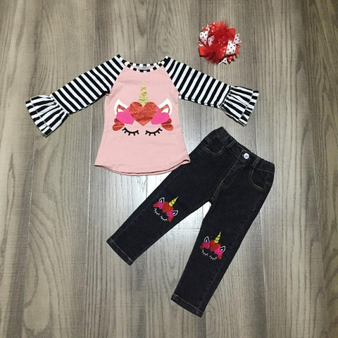 Unicorn Pink Stripe Flutter Top Hearts Jeans And Hair Bow