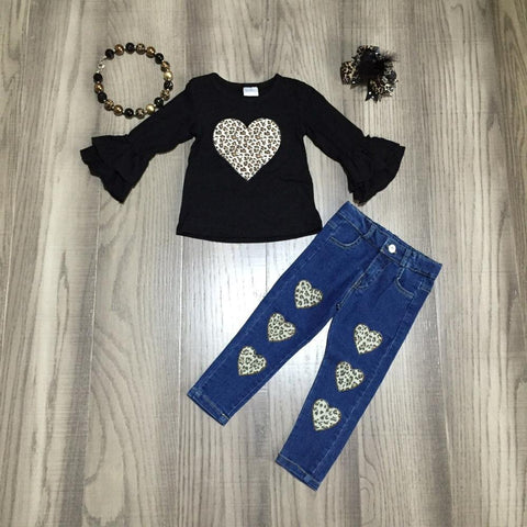 Black Flutter Ruffle Leopard Hearts Top Jeans  Necklace And Hair Bow