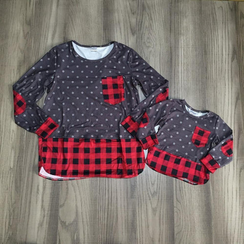 Gray Polka Dot Red Buffalo Plaid Pocket Shirt Mommy And Me