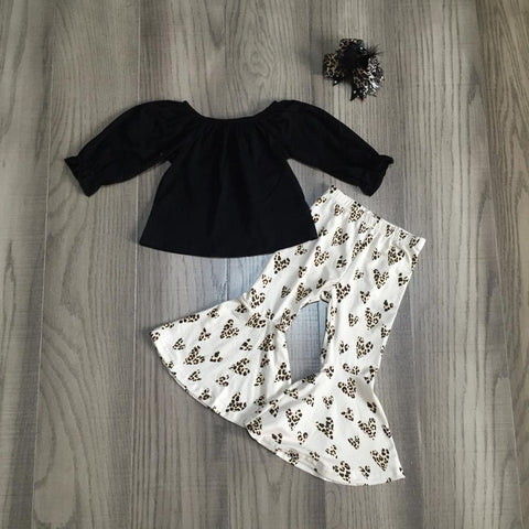 Leopard Polka Hearts Bell Bottom Flutter Pants Top And Bow Set
