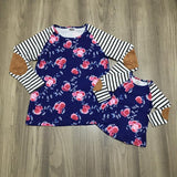 Winter Navy Pink Floral Patchwork Stripe Shirt Mommy And Me