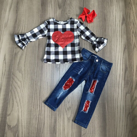 Black Plaid Heart Outfit Jeans Top And Bow