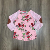 Pink Stripe Floral Shirt Patches Mommy And Me
