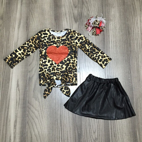 Leopard Red Heart Tie Shirt Black Skirt And Hair Bow Set