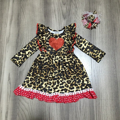 Leopard Ruffle Pom Glitter Red Polka Dress And Hair Bow Set