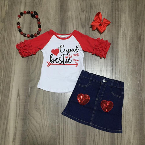 Cupid Is My Bestie Red Hearts Denim Sequin Raglan Icicle Top Skirt Bow And Necklace Set