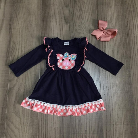 Pink Piggy Plaid Gingham Navy Pig Ruffle Pom Dress And Hair Bow
