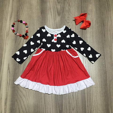 Red Ruffle Polka Heart Button Ruffle Dress Bow And Necklace Set