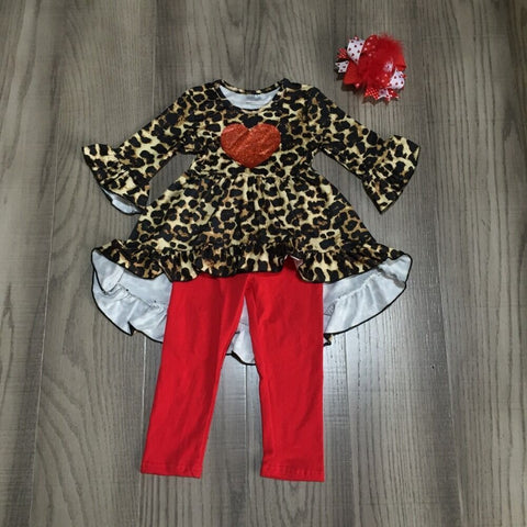 Red Heart Ruffle High Low Top And Pants