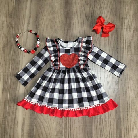 Black Plaid Red Heart Dress Necklace And Bow