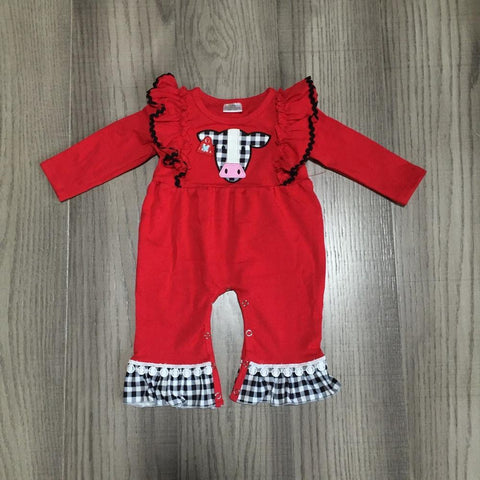 Red Black Gingham Plaid Cow Ruffle Pom Romper