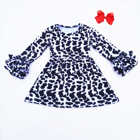 Cow Print Ruffle Dress And Hair Bow Set