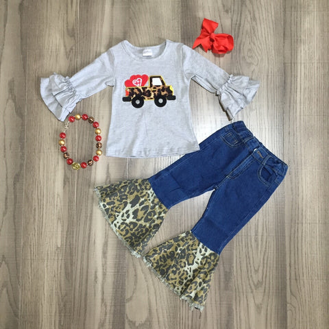 Leopard Vintage Truck Valentines Denim Jeans Bell Bottom Gray Top Necklace And Bow Set