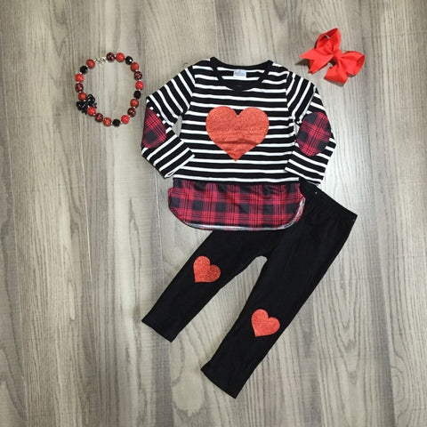 Black Stripe Red Plaid Hearts Patchwork Top Pants Bow And Necklace Set