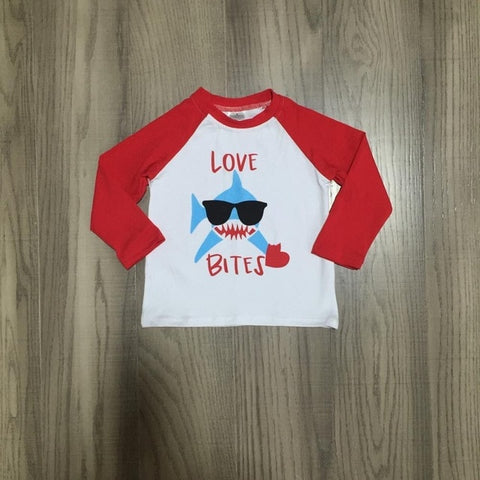 Shark Love Bites Heart Red Raglan Shirt Boys