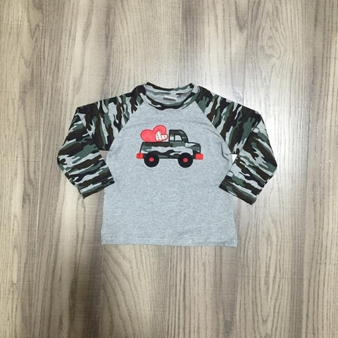 Camouflage Gray Valentines Day Truck Heart Camo Raglan Shirt Boys